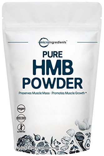Micro Ingredients Pure HMB Powder, 250 Grams, Powerfully Promotes Protein Synthesis, Muscle Growth & Recovery and Strongly Improves Power Output, Non-GMO and Vegan Friendly