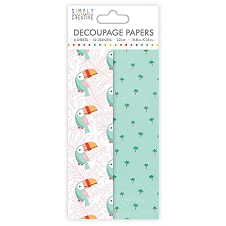 Simply Creative Decoupage Papers Toucan 4 Sheets//2 Designs