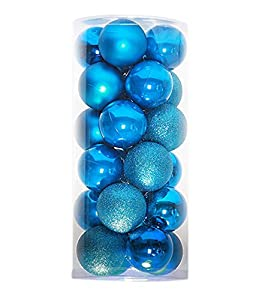 24ct christmas balls ornaments multicolor decorations tree balls for holiday wedding party decoration157light blue - Light Blue Christmas Ornaments