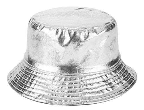 - Joylife Metallic Bucket Hat Trendy Fisherman Hats Unisex Reversible Packable Cap (Silver)