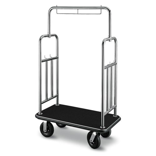 CSL 2799BK-010-BLK Stainless Steel Finish Deluxe Bellman's Cart with Rectangular Black Carpet Base, Black Bumper, Squared Top / Side Bars, and 8