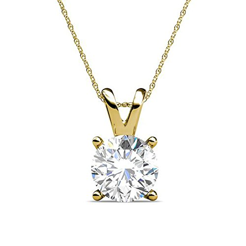 PARIKHS Round Diamond Solitaire Pendant Plus Quality in Yellow Gold (0.04 (0.04 Ct Diamond Fashion)