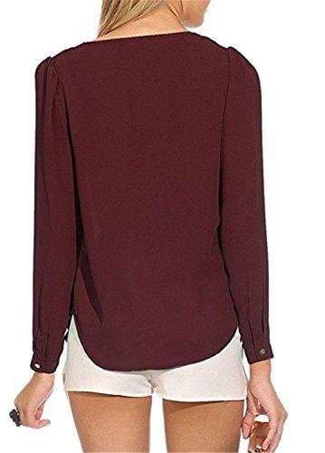 YOGLY Camiseta de Mujer con Cuello en V Manga Larga Ocasional Blusa Camisa de Gasa Rojo