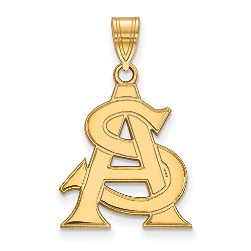 10k Yellow Gold Arizona State University Sun Devils School Letters Logo Pendant L - (20 mm x 16 mm) ()