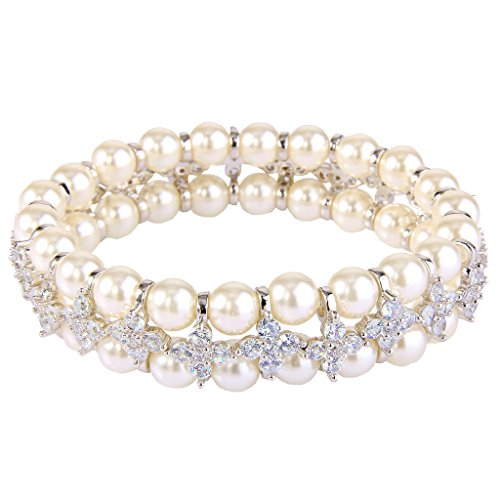 ever-faith-womens-cz-cream-simulated-pearl-2-layers-floral-elastic-stretch-bracelet-clear-silver-ton