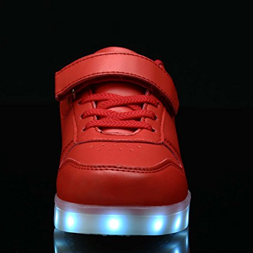FLARUT Niños Zapatos con USB Carga Light Up Zapatos Junior Casuales Led Luminoso Zapatillas Rojo