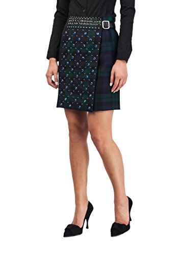 Prada Women's Wool Plaid Print Studded Skirt - Women For Clothing Prada