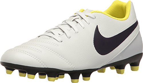 Nike Women's Tiempo Rio III FG Pure Platinum/Purple Dynasty/Electric Lime/White Soccer Shoes 8.5