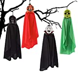 PeeNoke Set of Four 16 Inch Hanging Ghost Halloween Decorations with Different Designs