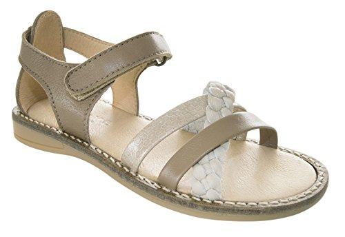 MOVE Girls Braided sandal, Mädchen Sandale - sandalias abiertas de cuero niña marrón - Braun (472/Khaki)