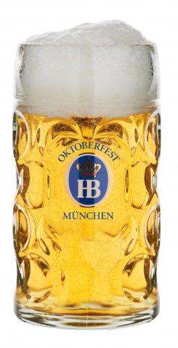 1 Liter HB  Hofbrauhaus Oktoberfest Edition Dimpled Glass Beer Stein COMINHKPR57376