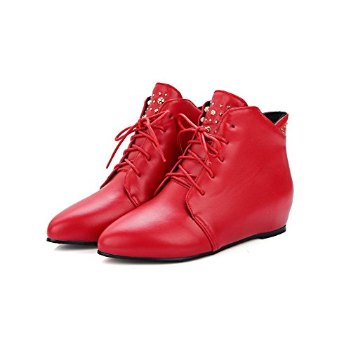 AmoonyFashion Womens Pointed Closed Toe Low-Heels Soft Material Low-Top Solid Boots Red wPSZ1