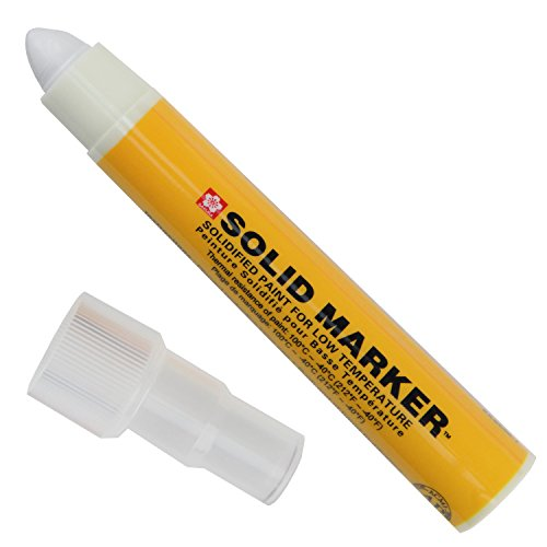 Sakura XSCM-T-50 White Solidified Paint Low Temperature Slim Solid Marker, Mini-Barrel, -40 to 212 Degree F, 10 mm Push-Up Tip (Pack of 12)