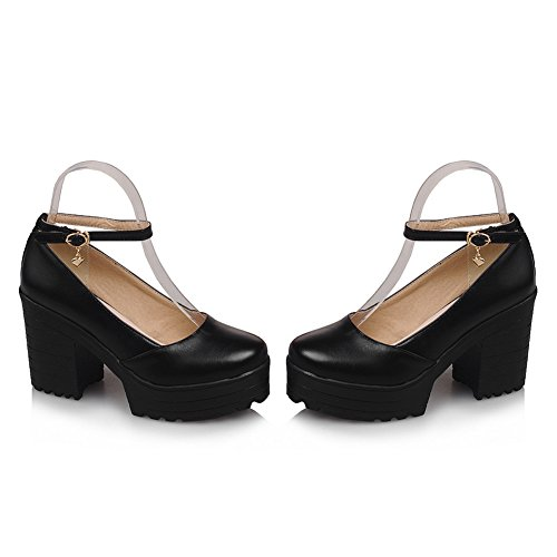 und Toe Platform Chunky Heels Ankle Strap Mary Janes Pumps Shoes 5B(M) US Black ()