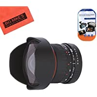 8mm f/3.5 HD Aspherical Manual Fisheye Lens for Canon Digital EOS Rebel T1i, T2i, T3, T3i, T4i, T5, T5i, T6i, T6s, SL1, EOS60D, EOS70D, 50D, 40D, 30D, EOS 5D, EOS1D, EOS5D III, EOS 5Ds, EOS 6D, EOS 7D, EOS 7D Mark II Digital SLR Cameras