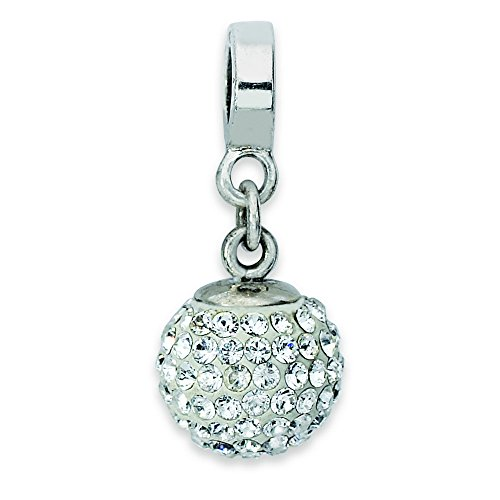 Sterling Silver Reflections April Swarovski Elements Ball Dangle Bead (Silver Ball April)