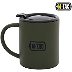 M-Tac Coffee Mug - with Lid and Handle - Stainless Steel - Tactical Travel - Cup 9 Oz Olive