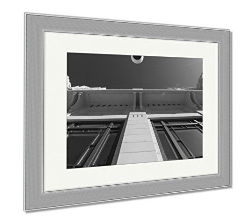 Ashley Framed Prints Bass Performance Hall Fort Worth Tx, Wall Art Home Decoration, Black/White, 30x35 (frame size), Silver Frame, - Square Sundance Tx