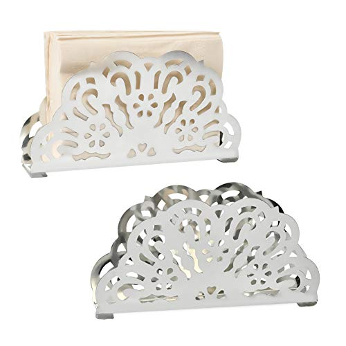 Napkin Holder Stainless Steel Scroll Collection Stand Tabletop Paper Towel Dispenser Tissue Holder - 2 Pack