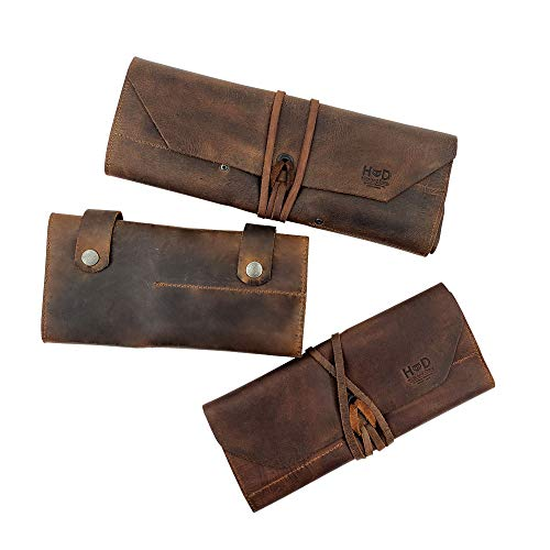 Hide & Drink, Leather Tool Roll Up Bags & Snap Tool Pouch - Vintage Style Tool Organizer - Portable Carry Case for Barbers - Small & Big Leather Tool Pouch Handmade
