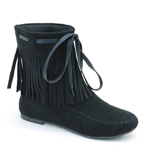 Brieten Womens Fringe Dress Boots Nero
