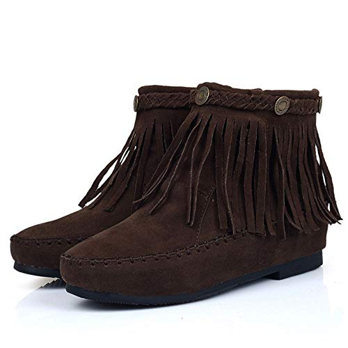 Melady Boots On Pull brown dark Classic 2 Fringe Women Ankle YInFIrTq