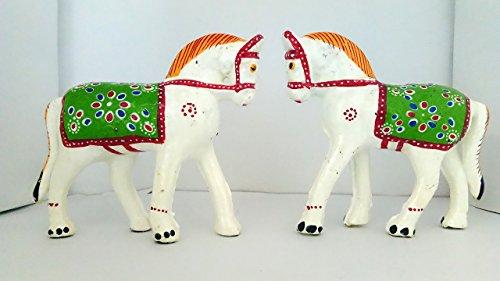 DreamKraft Paper Mache HandCrafted Set of 2 Horse Showpiece