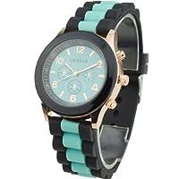 Women's Silicone Band Jelly Gel Quartz Wrist Watch Mint Green by Sanwood