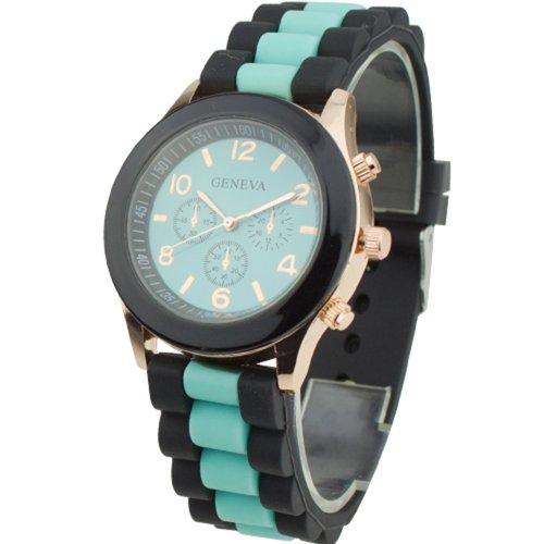 Women's Silicone Band Jelly Gel Quartz Wrist Watch Mint Green