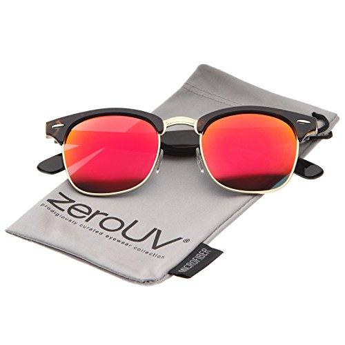 zeroUV - Premium Half Frame Colored Mirror Lens Horn Rimmed Sunglasses 50mm (Tortoise-Gold / Red - Gold Clubmaster And Sunglasses Black