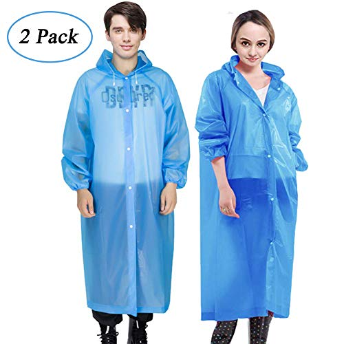Rain Ponchos, 2 Packs Reusable Ponchos for Adults with Drawstring Hood and Sleeves, Emergency Rain Coat for Theme Park, Hiking, Camping or Traveling (Blue)