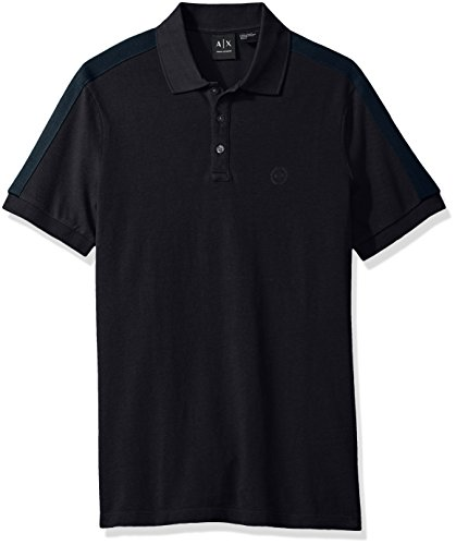 A|X Armani Exchange Men's Core SS Polo With Sleeve Taping Detail, Navy, Medium