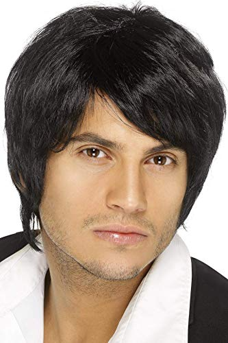 Smiffys Men's Short Black Wig with Side Bangs, One Size, Boy Band Wig, 5020570420676