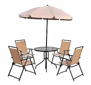 Conjunto muebles jardin 4 sillas mesa de comedor redonda y for Alcampo sombrillas terraza