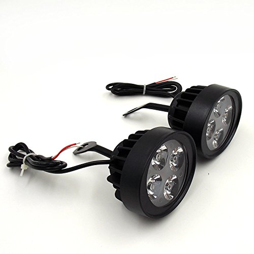 UXOXAS Newest A Pair 12V Super Light Waterproof Motorcle LED Headlight Locomotive Spotlight Assist Lamp Rearview Mirror Light