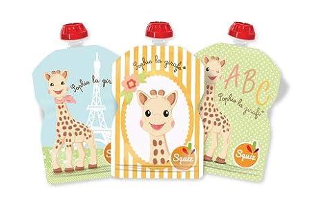 Sophie la Girafe - 3 Bolsas SQUIZ de Comida Reutilizables para Bebés 90ml - HECHO IN SUIZA