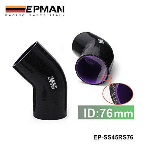 EPMAN Black 3-Ply 3 45 Degree Elbow Coupler Silicone Hose Turbo Intake 76mm EP-SS45RS76