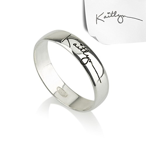 (Personalized Necklaces Signature Ring- Handwriting Ring, Silver Ring, Word Ring, Initial Ring, Name Ring)