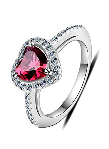 (Vogzone Sterling Silver Heart Promise Ring Created Ruby Cubic Zirconia Halo Engagement Ring for Women)
