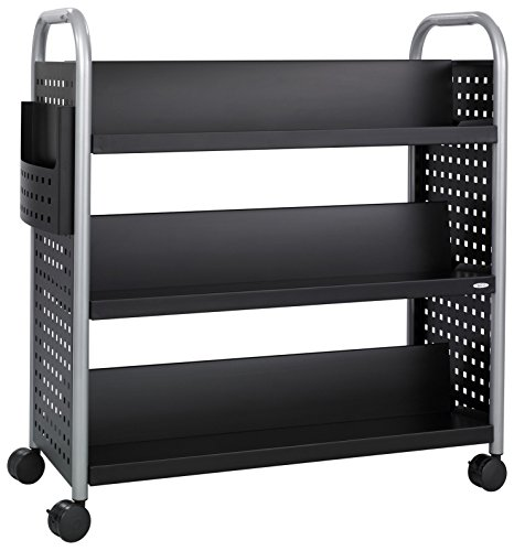 Safco Products Scoot Double-Sided Book Cart 5335BL Black, Swivel Wheels, 6 Slanted Shelves