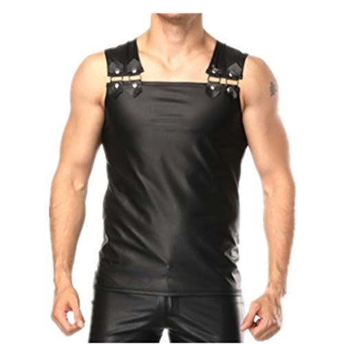 iEFiEL Mens Faux Leather Sleeveless Vest Muscle Sport Gym Undershirt Tank Top Shirt Waistcoats Clubwear Black XL