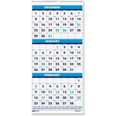 House of Doolittle Three-Month Compact Calendar 14 Months, December 2011 to January 2013, 8 x 17 - Inches, Large Numbered Days, Recycled (HOD3646) -