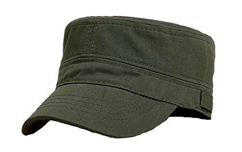 53237431 Brcus Solid Peaked Flat Top Cap Army Cadet Classical Military Hat Baseball  Cap Army Green