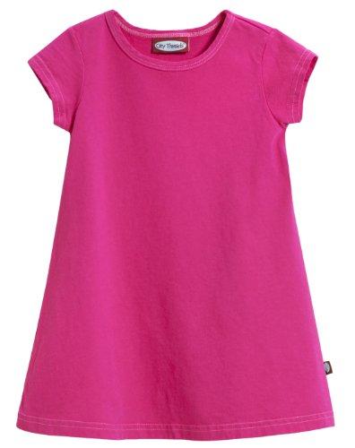 Dresses Holiday Hot - City Threads Little Girls' Cotton Short Sleeve Cover Up Dress for Sensitive Skin SPD Sensory Friendly, Hot Pink, 6