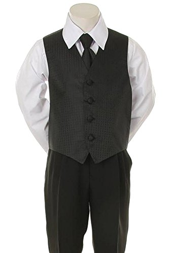 Kid's Dream Special Occasion Holiday Patterned Infant and Boys 2 Piece Vest Set (M, Black) (Vest Holiday Boys)