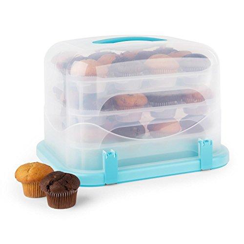 Klarstein Blaukäppchen XL Kuchenbox Cupcake-Carrier für 36 Muffins Kuchen-Transportbox mit Tragegriff & 4 Klippverschlüsse Rechteckig (34,5 x 25 x 25,5c m, 3 x Cupcake-Einsatz) blau