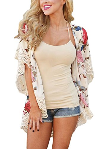 Floral Print Kimono Dress (EVALESS Women's Floral Print Chiffon Loose Kimono Cardigan Blouse Beach Cover Up Medium White)