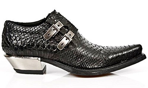 NEWROCK New Rock Newrock Mens Black Python Leather Steel Heel Boots - M.7934-S2