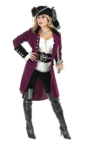 Charades Women's Pirate Vixen Coat, Plum/Black, - Xl Pirate