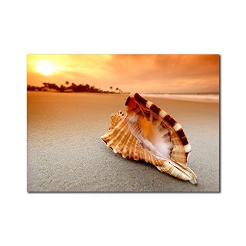 Purple Verbena Art Stretched and Framed Sunset Over The Sea with The Shell Conch Prints on Canvas Paintings Wall Art for Home and Office Decor, Modern Beach Seaview Landscape Walls Artwork 10x14Inch